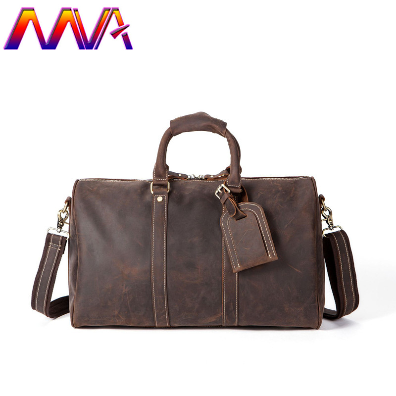 dd39d6dcf834 MVA Promotion genuine leather men travel bag of crazy horse travel bag men shoulder  bag of leather luggage travelling bags