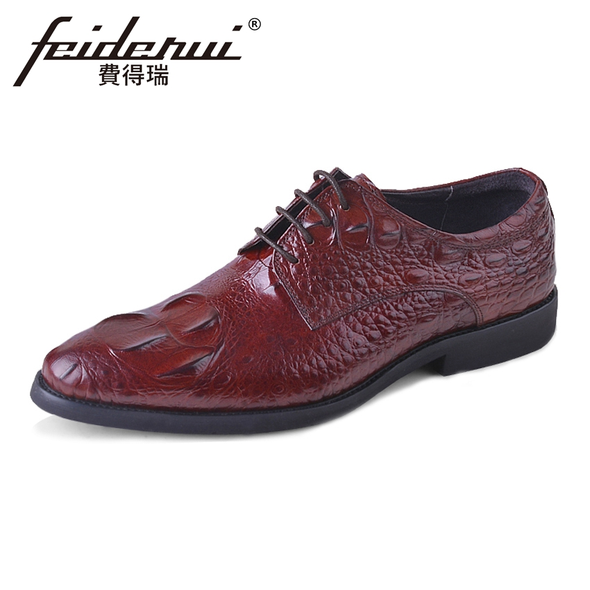 Plus Size Fashion Alligator Men's Footwear Round Toe Derby Handmade Man Wedding Flats Genuine Leather Formal Dress Shoes ASD62 plus size hot sale pointed toe derby man banquet footwear fashion genuine leather wedding party men s formal dress shoes sl451