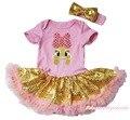Пасхальные розовым бантом кролик боди золото шику блестки девушки детское платье NB-18M