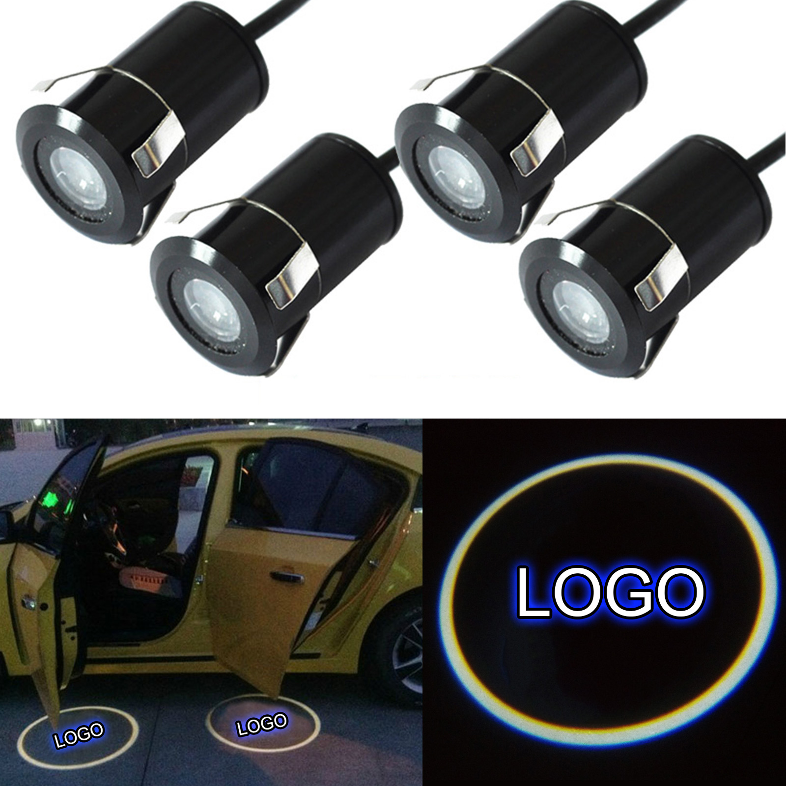1pair Car Auto LED Laser Logo Step Lamps Ghost Shadow Courtesy Door Light Projector