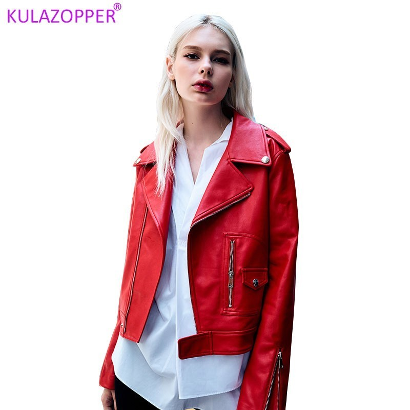 KULAZOPPER Autumn new fashion high quality PU   Leather   for women jackets zippers woman motorcycle short   leather   outwear LH007