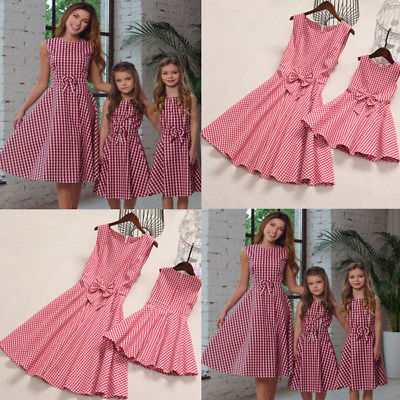 f3f01358be71b Pudcoco Mother Daughter Matching Dress Long Maxi Dress Plaid Sundress Bow  Outfits Checked Dress Boho Family Summer Clothing