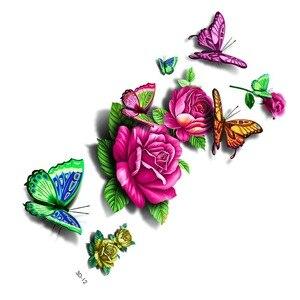 1 шт Случайные 3D водонепроницаемые татуировки наклейки 3D бабочка татуировка с фруктами цветок поддельные временные наклейки в стиле Фэнтез...