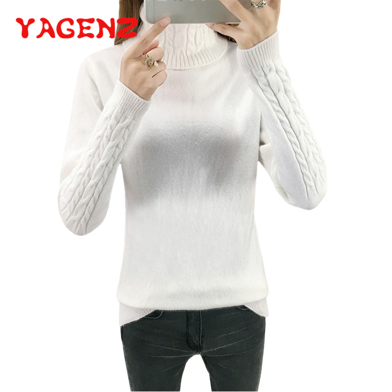 YAGENZ Turtleneck Sweater Shirt Pullover Bottoming Long-Sleeve Loose Autumn Winter Women