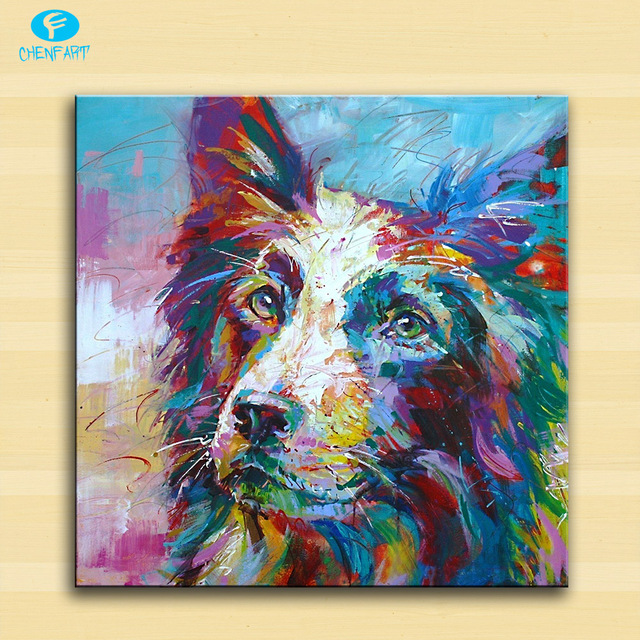 Large Size Print Oil Painting Wall Border Collie Pop Art Home Decorative