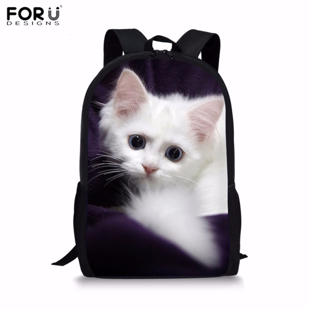 FORUDESIGNS Children School Bags Cute Cats Printing School Backpack for Kids Kawaii Shou ...