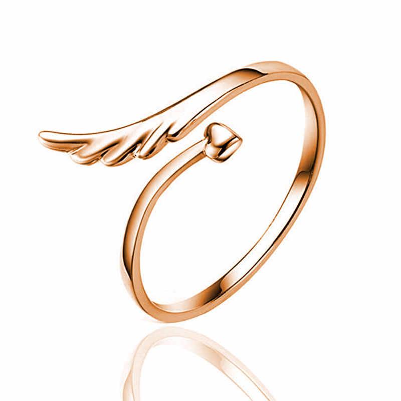 SENFAI 2017 Новинка Лидер продаж модное изысканное регулируемое кольцо 3 цвета кольца на палец с ангельским крылом сердцем ювелирные изделия для женщин лучшие подарки для любви