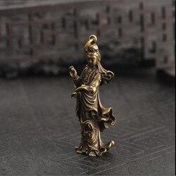 Chiński stary kolekcja Handwork mosiądz Guanyin bodhisattwa kieszonkowy posąg 1 sztuk BBB1069