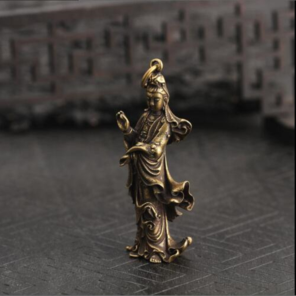 Chinese Old Collection Handwork Brass Guanyin Bodhisattva Pocket Statue 1pcs BBB1069