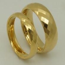 6mm ancho para siempre clásico de múltiples facetas champagne chapado en oro anillo de tungsteno de alta tecnología