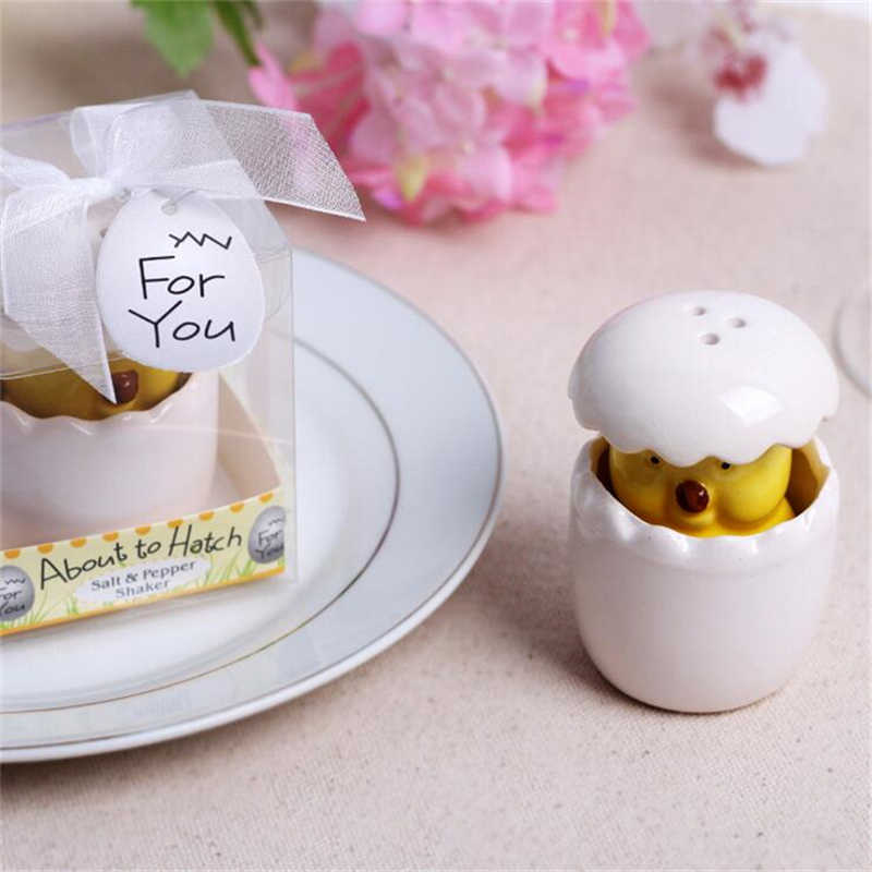 Ceramic Chick broken shell Salt & Pepper Shaker Wedding Favors And Gifts For Guests Souvenirs Decoration  Event & Party Supplies