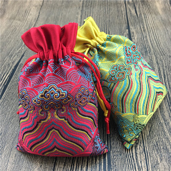 Patchwork Pattern Small Jewelry Gift Bag Decorative Drawstring Silk Brocade Craft Packaging Pouch Party Favor Bags 50pcs/lot