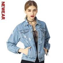 NEWEAR Women Denim Jacket Coat Autumn Winter Long Sleeves Jackets Jeans Lapel Tops Basic Pocket Single Breasted Casual Outwear
