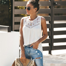 Women Summer lace Crochet Hollow out T-shirt loose casual Sleeveless crew neck Solid T-Shirt lady office Tee streetwear цена 2017