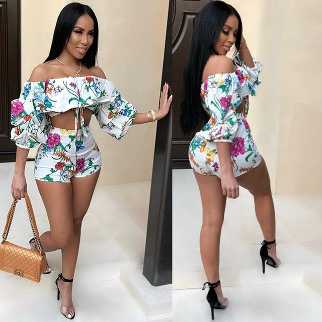 Summer style women two piece set print tracksuit bohemian beach 2 piece  tracksuit shorts outfit B9071 0ef768994