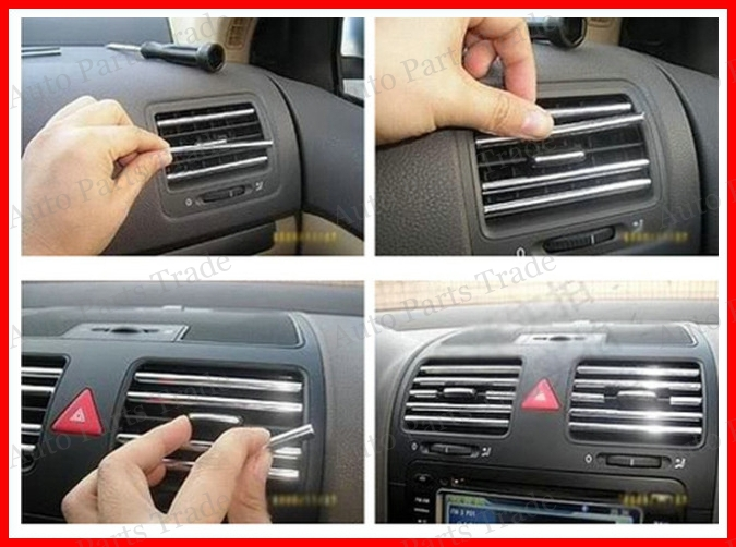 Silver U Style DIY Car Interior Vehicle Outlet Decoration Strip Vent
