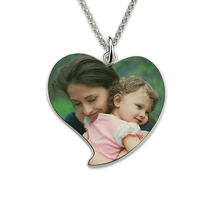 Wholesale  Sterling Silver  Heart Photo Necklace Personalized Photo Gift Custom Portrait Pendant Gift for Mother necklace 925 sterling silver custom photo