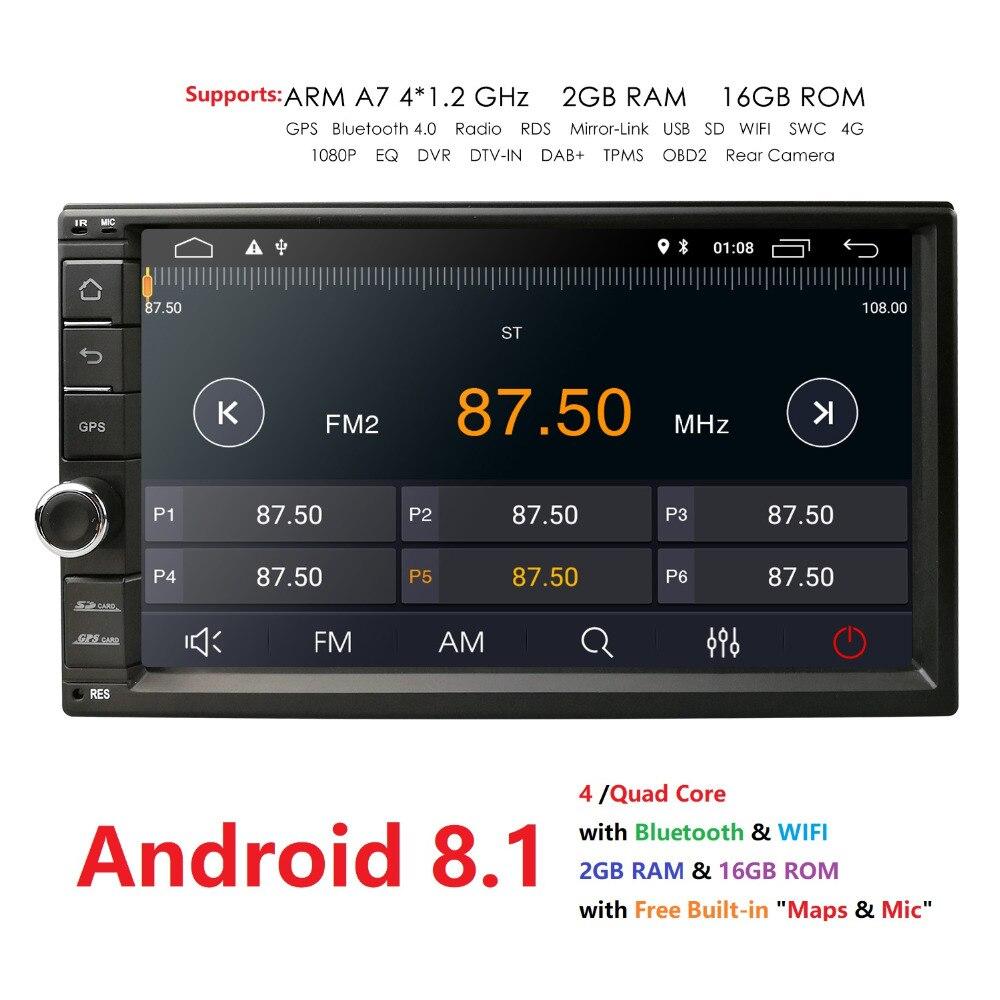 Android 8,1 В тире 7 дюймовый gps; стереооборудование для автомобиля Универсальный двойной DIN автомобиля радио Поддержка Wi Fi Bluetooth, gps, RDS, радио, DVR, DAB