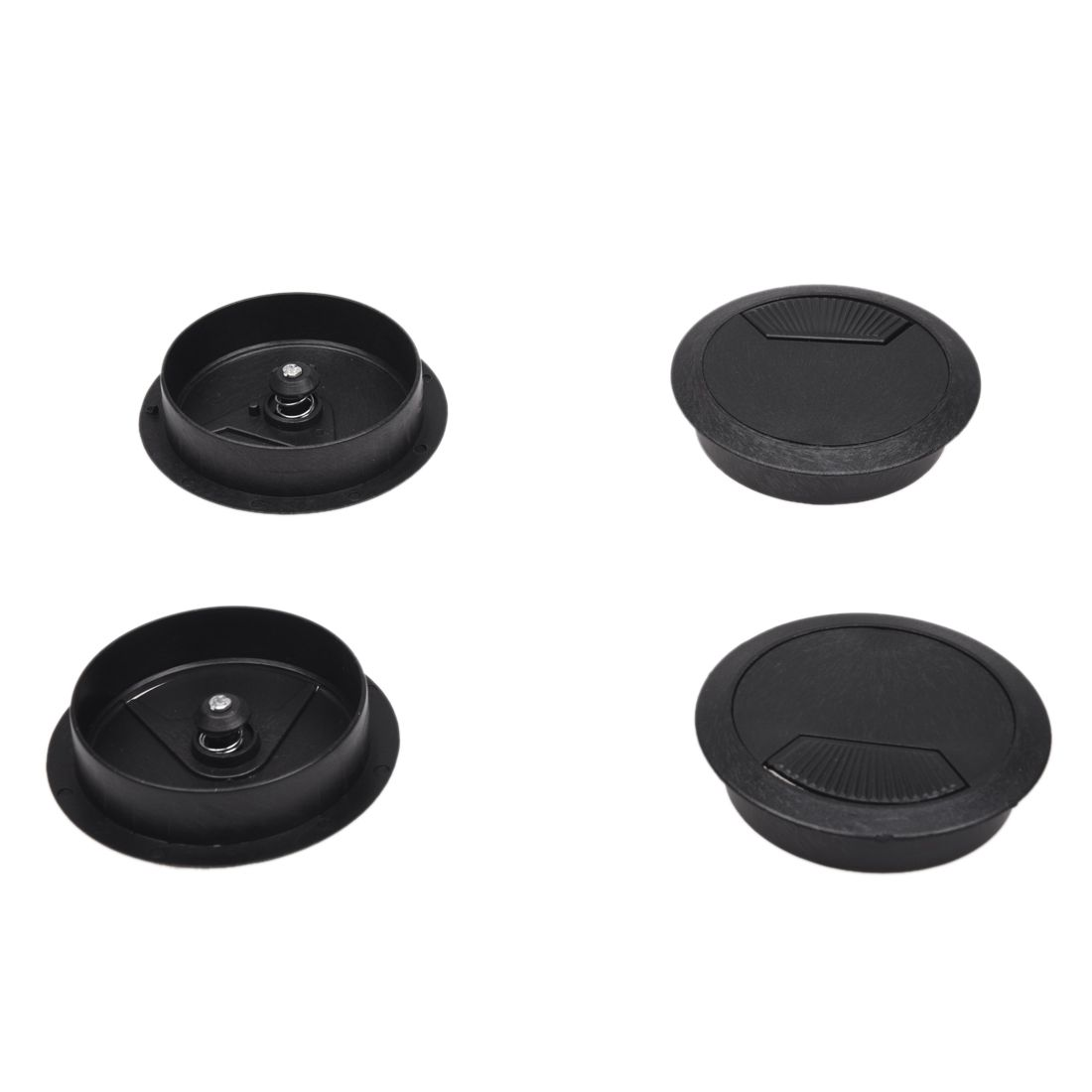 2.3 Dia Round Plastic Desk Computer Grommet Hole Wire Cover Black 4 Pcs rubber round table foot cover protector 8mm inner dia 24 pcs