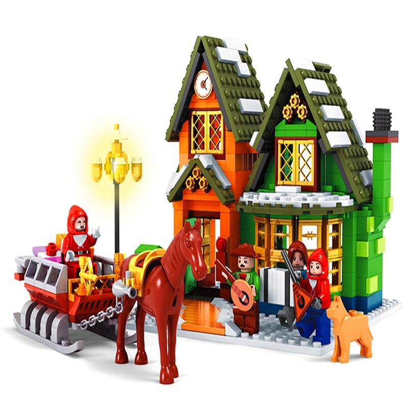 AUSINI 25607 noël hiver Village bureau de poste calendrier blocs de construction brique Compatible LegoIN Playmobil jouets pour enfants