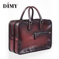 Handmade Luxury Leather Briefcases Business Bags Double Zip Full Grain Premium Italian Leather Bags Laptop Handbag
