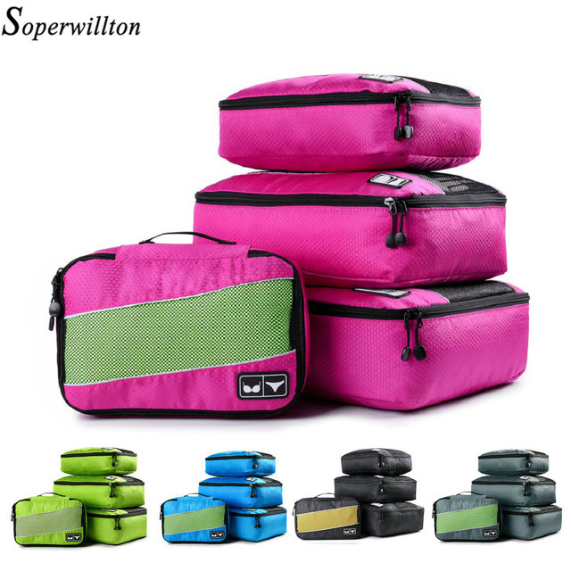 e2b84722c867 US $22.0 45% OFF|Soperwillton Women Travel Totes Packing Cubes For Outwears  Shirts Bras Nylon Breathable Men Travel Luggage Organizer Cube Set-in ...