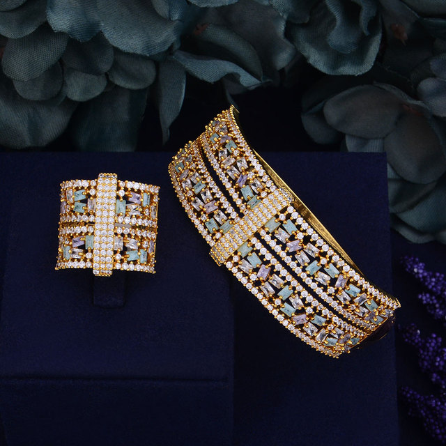 GODKI Luxury Big Delicate Luxury Multicolor Cubic Zirconia Party Wedding Saudi Arabic Dubai Bangle Ring Set