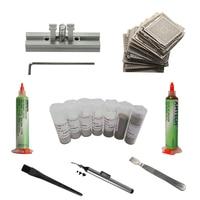Full kit BGA Reballing stencils directly heating jig bga station solder ball flux scraper vacuum pen of bga rework station