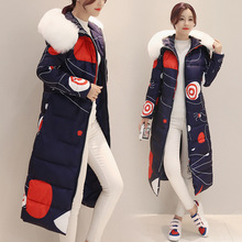 Luxury Soft Fur Collar Hooded Women Coat Winter Warm Down Cotton Woman Long Coat Fashion Printed