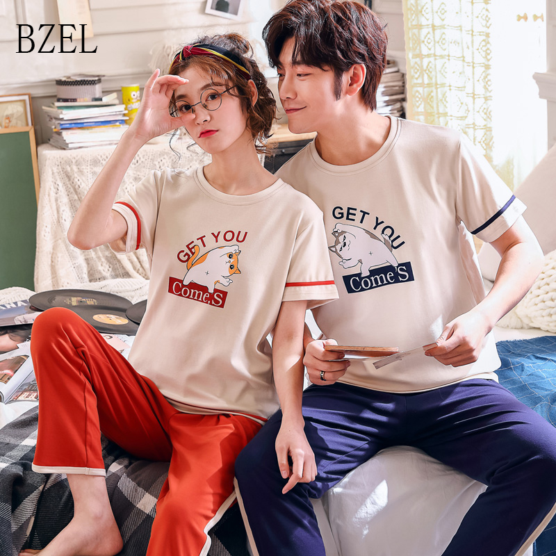BZEL New Casual Couples Pajamas Valentine Men Women Nightwear Loves O-Neck Sleepwear Cotton Clothes Leisure Home Wear Lover Suit