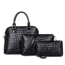 femininas 2017 New fashion women messenger bag luxury crocodile women bag and female leather handbag 3pcs bag free shipping
