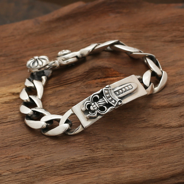 Wholesale silver jewelry S925 star with a Korean version of silver light personality retro boys spring buckle bracelet