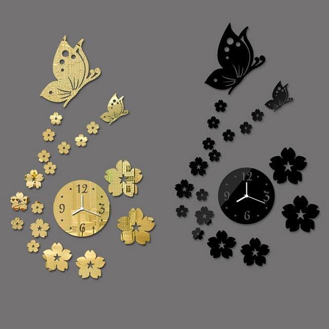 Nice Design Modern Butterfly Diy Mirror Clock Wall Sticker Combination Sticker Home Decor Cool Novelty Decoration