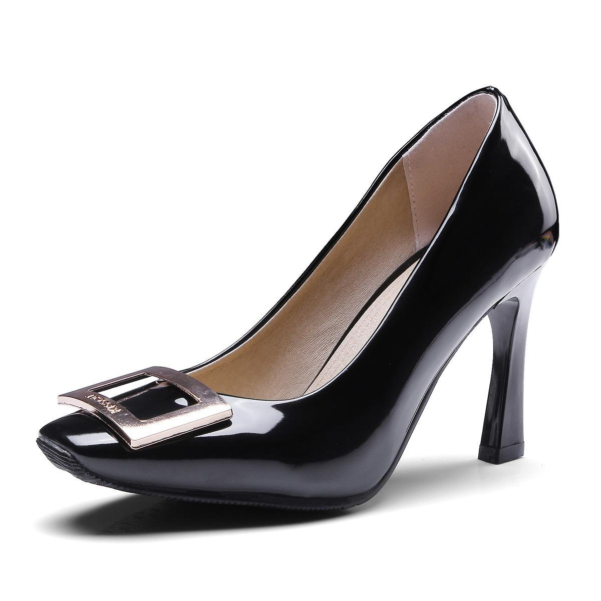 Women High Heels Shoes Square Toe Pumps Office Lady Thick -7945