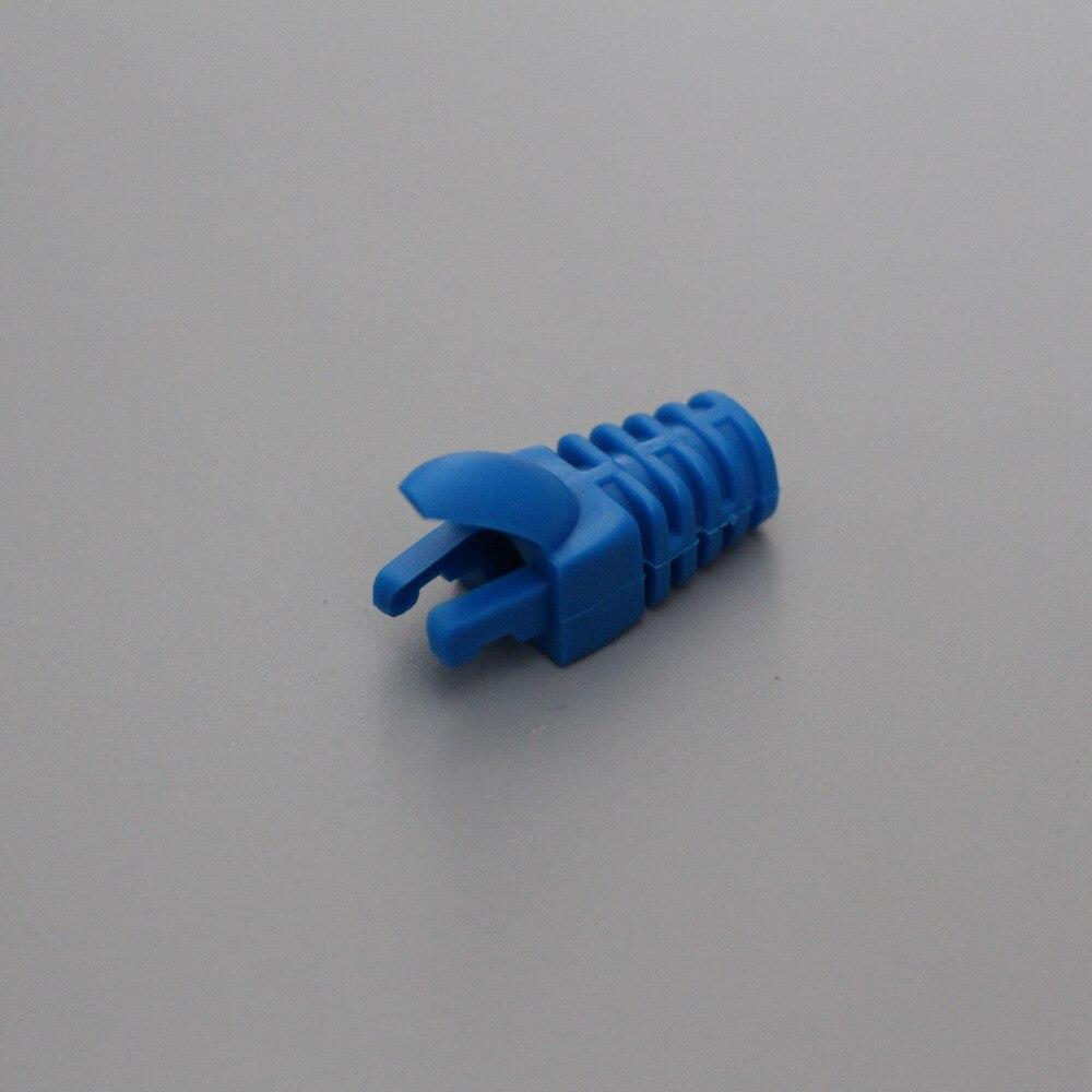 bilder für 50 Stück Blaue Farbe Stiefel für Cat 5e, katze 6 Netzwerkkabel, RJ 45 Stecker Boot Finger Typ