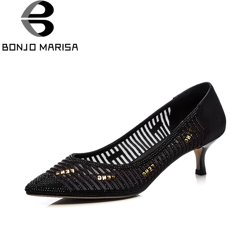 BONJOMARISA fashion thin high heels women shoes slip on graceful crystal hollow pointed toe shoes women party pumps