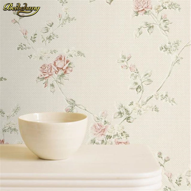 beibehang Bedroom non-woven wall paper roll Rustic flower background wall for living room floral mural wallpaper Home Decoration beibehang non woven wallpaper rolls pink love stripes printed wall paper design for little girls room minimalist home decoration