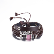 Antique Silver Plated Bracelet Colorful Ball Beaded Multilayer Lady Charm Bracelet Leather Braided Wristband Bangle pulseira