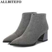 Botas ALLBITEFO de tacón grueso de piel auténtica de oveja para mujer, botines de invierno de tacón medio con diamantes de imitación a la moda