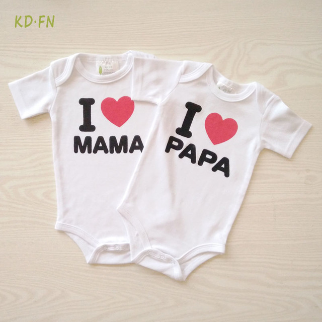 af5099ec9 New born Baby Clothes Cotton I LOVE PAPA MAMA Printing Long Sleeve ...