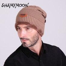 SHAMYMOON hombres más terciopelo sombrero de punto otoño invierno cálido y cómodo punto sombreros hombres deportes al aire libre de ocio sombrero caliente HT028