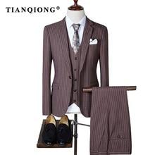 TIAN QIONG 2017 High Quality Men Suits Fashion Stripe Men's Slim Fit Business Wedding Suit Men Wedding Suit(Blazers +Vest+Pants)