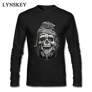 Snowboarder Skull With Headphones Men Stylish Vintage DJ Design T-shirts Long Sleeve Black Top Teeshirt Easter Day