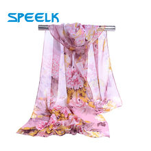 Brand New Peony Chiffon Scarf Women Spring Autumn Korean Sha