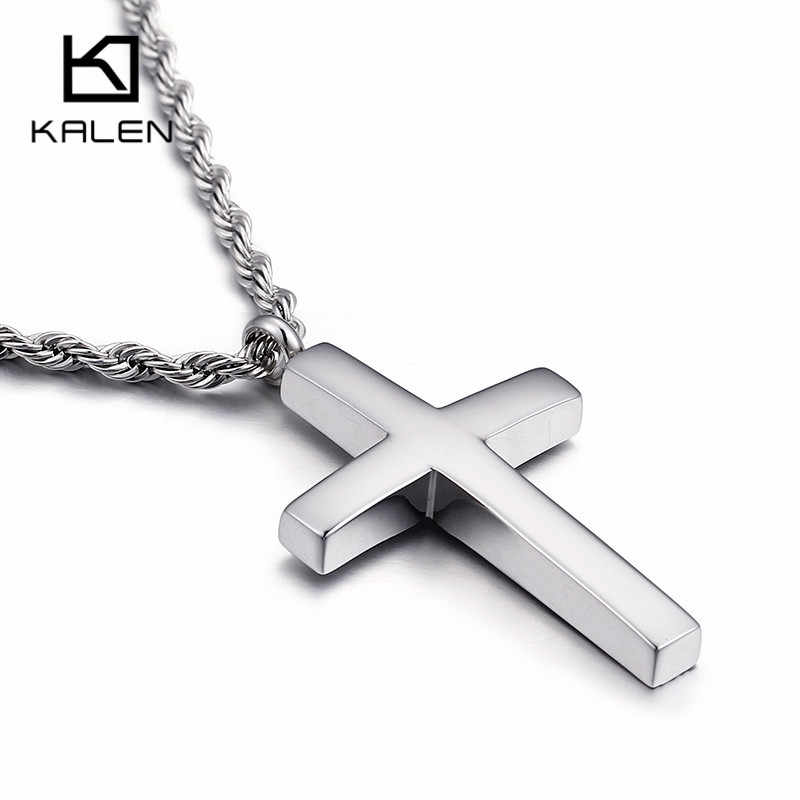 Kalen New Trendy Cross Chain For Men High Polished 60cm Stainless Steel Gold Color Cross Jewelry Necklace Male Cheap Jewelry