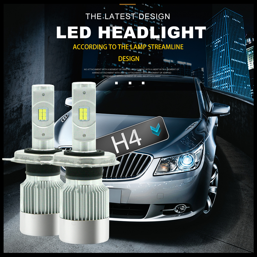 360Lahl Car H4 LED HeadLamp 72W 8600LM TURBO Canbus 6000K Strong Bright Car Headlight Fog Light replacement