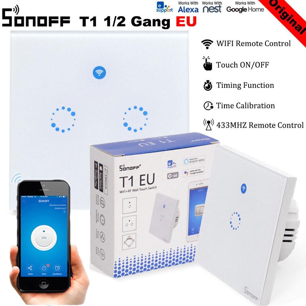 Itead Sonoff T1 EU 2 Gang 1 Way Wifi Wall Switch Wireless Remote Light Relay App Touch Control Wifi Smart Switch Work With Alexa