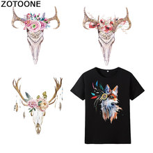 ZOTOONE Stranger Things Fox Animal Elk Skull Iron on Transfers for Clothing Applique Clothes Diy Patch Heat Printed E