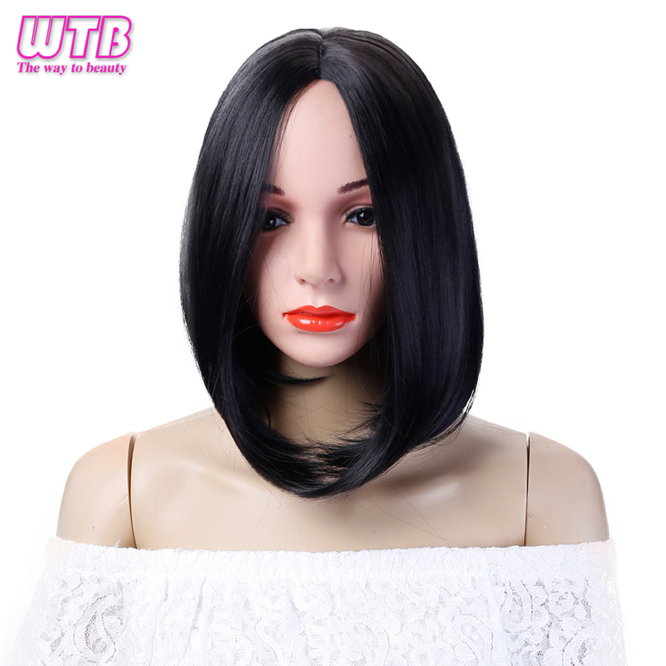 WTB Synthetic Short Straight Bob Wig Womens Black Natural Hair Wigs Heat Resistant Fiber African American Wigs