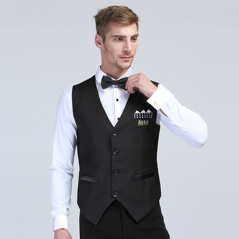 Mens Vest Latin Dance Performance Dancewear V-neck Triangle Shape Satin + Wool Polyester Fabric Sexy New Arrival